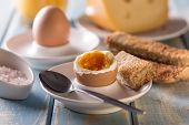 image of boil  - Boiled egg with toast bread on wooden table - JPG