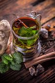 stock photo of mints  - Mint tea with fresh mint leaves - JPG