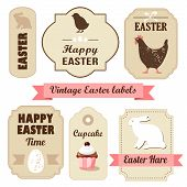 picture of easter eggs bunny  - Cute retro easter set of labels with eggs chicken bunny ribbons and other elements vector illustration - JPG