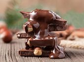 Stack Of Melted Chocolate With Nuts