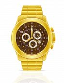 Gold Mechanical Wristwatch With Bracelet Vector Illustration