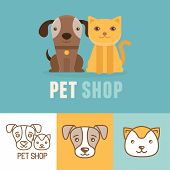 pic of petting  - Vector dog and cat icons and logos  - JPG
