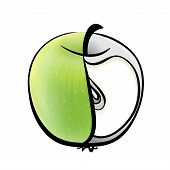 Green Apple - Half In Color With Half A Slice As A Graphic Image