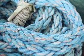 Blue Nautical Rope, Closeup Background Texture