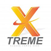 stock photo of letter x  - Letter X 3d logo for an extreme brand manufacturer or activities - JPG