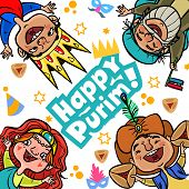 stock photo of fancy-dress  - Happy jewish children in fancy dress enjoy Purim - JPG
