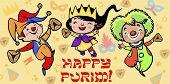 Funny Happy Purim Greeting Card. Vector Illustration