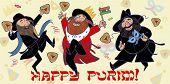 foto of purim  - Happy jewish men dance and injoy Purim - JPG