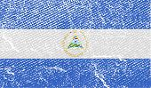 Flag Of Nicaragua With Old Texture. Vector