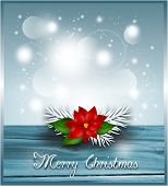 picture of poinsettia  - Blue christmas background with poinsettia illustration card - JPG