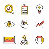 Flat set of modern vector icons and symbols on business management or analytics, e-commerce