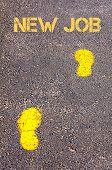 Yellow Footsteps On Sidewalk Towards New Job Message