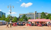 Lahti. Finland. People on Market Square