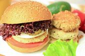 foto of veggie burger  - Vegan sea burger and patties closeup background - JPG