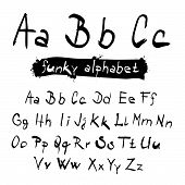ABC - abc Funky Vector Black Hand Written Alphabet Set Isolated on White Background