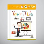 Funky Brochure - Business Book Vector Cover Design with Graphs