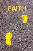 picture of faithfulness  - Yellow footsteps on sidewalk towards Faith message - JPG