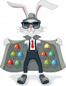 pic of smuggling  - Vector cartoon of funny gangster rabbit with multicolored Easter eggs - JPG