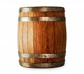 foto of fermentation  - Wooden oak barrel isolated on white background - JPG