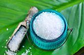 image of sea salt  - sea salt on a table sea salt for bath - JPG
