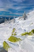 pic of snow clouds  - Winter Carpathian mountains all covered with snow in the sky beautiful clouds - JPG