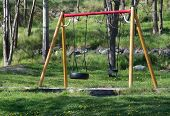 Playground with swings on green grass
