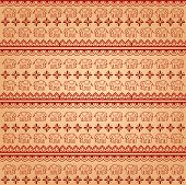 stock photo of indian elephant  - Traditional red and cream Indian henna elephant pattern background - JPG