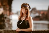image of headband  - Flapper girl portrait - JPG
