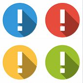 stock photo of attention  - Set of 4 isolated flat colorful buttons for exclamation mark  - JPG
