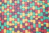 stock photo of paving stone  - Background of colored brick walkway stone - JPG