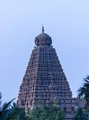 The magnificent chief gopuram / tower of Brahadeewarar temple, Thanjavur captured during evening