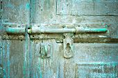 stock photo of keyholes  - Rusted keyhole on wooden door  - JPG
