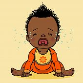 image of cry  - vector cartoon colorfull crying black baby isolated background - JPG