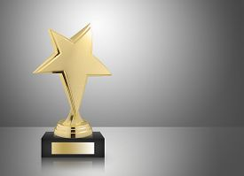 picture of trophy  - Golden star trophy on gray background  - JPG