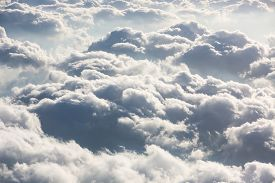 image of aeroplan  - Beautiful sky with clouds a view from an aeroplane above the clouds - JPG
