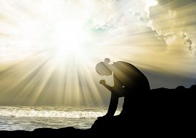 picture of forgiveness  - Silhouette of young girl praying to god - JPG