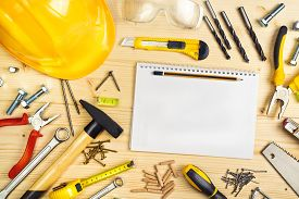 pic of reconstruction  - Planning a Project in Carpentry and Woodwork Industry Notebook and Assorted Woodwork and Carpentry Tools on Pinewood Workshop Table - JPG
