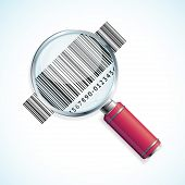 pic of barcode  - Vector illustration magnifier and barcode isolated on a white background - JPG