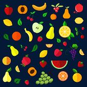 stock photo of watermelon slices  - Fruits and berries flat icons with whole and sliced apples - JPG