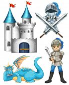 picture of dragon  - Set of fairytales with knight and dragon - JPG