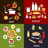 Постер, плакат: Cooking processes of vegetarian and fast food