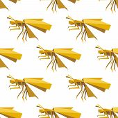 pic of dragonflies  - Seamless origami yellow dragonfly pattern with folded paper model of insects on white background for background design - JPG