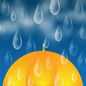 pic of raindrops  - Yellow umbrella and raindrops - JPG