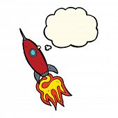 picture of spaceships  - cartoon spaceship with thought bubble - JPG