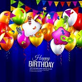 stock photo of birthday hat  - Vector birthday card with colorful balloons - JPG