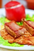 image of veal meat  - roast of veal meat with bacon with potatoes - JPG