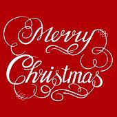 stock photo of merry christmas text  - Calligraphic text handmade - JPG