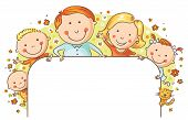 foto of three life  - Happy family with three children and a cat with a blank frame - JPG
