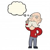 image of annoyance  - cartoon annoyed old man with thought bubble - JPG