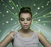 picture of fine art portrait  - Fine art portrait of a stunning brunette beauty - JPG